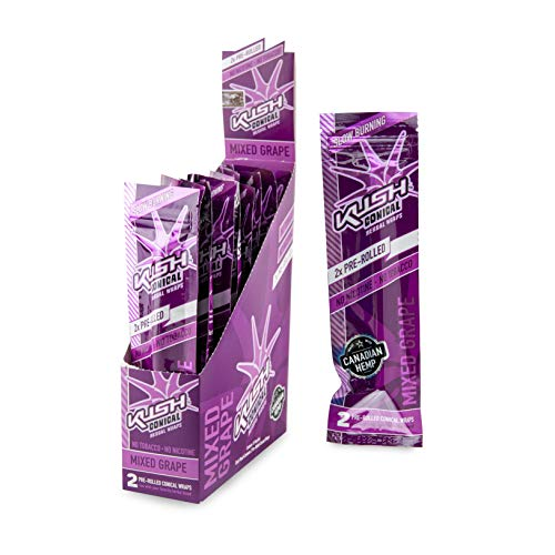 Kush Hemp Wraps - Pre Rolled Cone Wraps - 2 Cones/Pack, 15 Pack Display Box - (Mixed Grape)