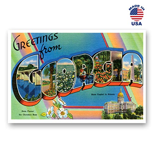 GREETINGS FROM GEORGIA vintage reprint postcard set of 20 identical postcards. Large letter US state name post card pack (ca. 1930's-1940's). Made in USA.