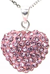 Pink Crystal Heart Shape Sterling Silver Pendant