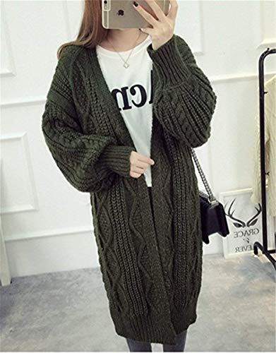 Tejido Grün Mujer Sweater Largo Largos Relaxed Pullover Otoño Abierto Elegantes Outerwear Vintage Moda Adelina Ropa Niña Básicos Abrigos Casuales Abrigo Primavera Manga E1dA7Awqx