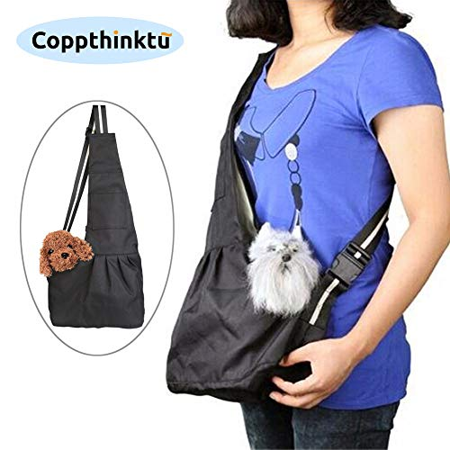 Coppthinktu Dog Carrier Sling for Small Dogs - Hands Free Dog Carrier Bag Breathable Pet Shoulder Bag, Puppy Kitty Rabbit Carrying Pouch - Adjustable Strap and Pocket