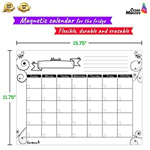 "Cedar Markers 16""x12"" White Magnetic Fridge Calendar With 3 Free Chalk Markers. Dry Erase Whiteboard Monthly Calendar."