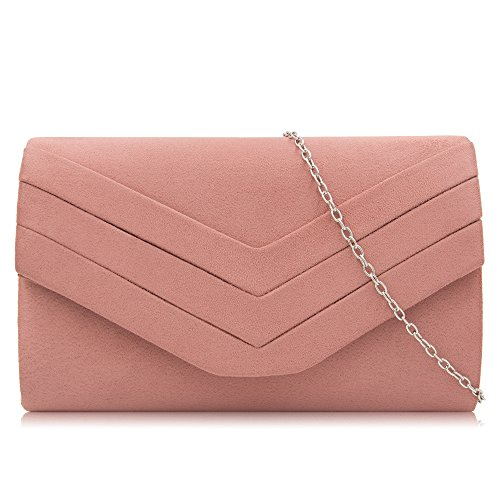 Milisente Women Clutch Bag Suede Envelope Clutch Classic Evening Bag Haze Pink