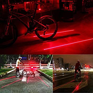 Bicycle Bike Cycling Red Laser Beam 5LED Rear Tail Light Safety Warning Lamp