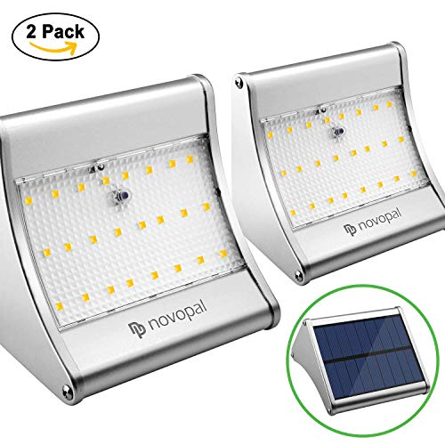 Motion Sensor Solar Lights Outdoor - 450 Lumens 24 LED Waterproof Wireless Solar Powered Security Light - Super Brightness Easy Install for Garden Patio Pathway Yard Garage Landscape – 2 Pack by novopal