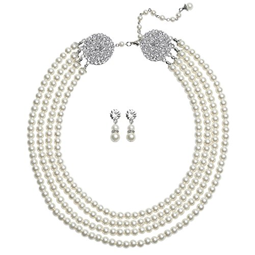 BABEYOND 1920s Gatsby Pearl Necklace Bridal Imitation Pearl Necklace Vintage Wedding Pearl Necklace Jewelry Set with Brooch