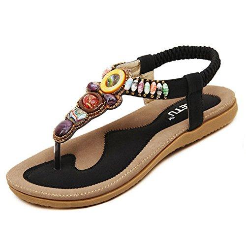 Beaded Strap Flip Flop (Bohemian Roman Beaded Flat With Diamond Embellishment For Women's Beach Thong Sandals Flip Flops (11 US/EU 42, cool black))