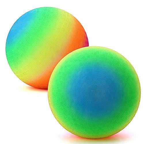 Lanlan 8 Inch Rainbow Playball Foam Playground Kickball for Playing Yoga Training Sports Toy Soccer Ball