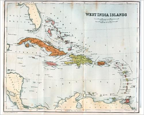 10x8 Print of Vintage map of the West India Islands 1860s (13666613)