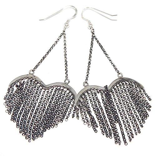 """Pro Jewelry .925 Sterling Silver Dangling """"Chain Link Heart Shape"""" Fish Hook Earrings 17 1063 555"""