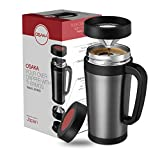 "Osaka Coffee Pour-Over Dripper With Built-In Travel Thermos - Enjoy Freshly Brewed Coffee Wherever You Go ""Meiji Shrine"" (Black)"