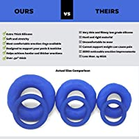 Extra Thick Silicone Cock Ring 3 Pack by Lynk Pleasure, Soft & Stretchy Premium Erection Enhancer Penis Rings for Men, Blue