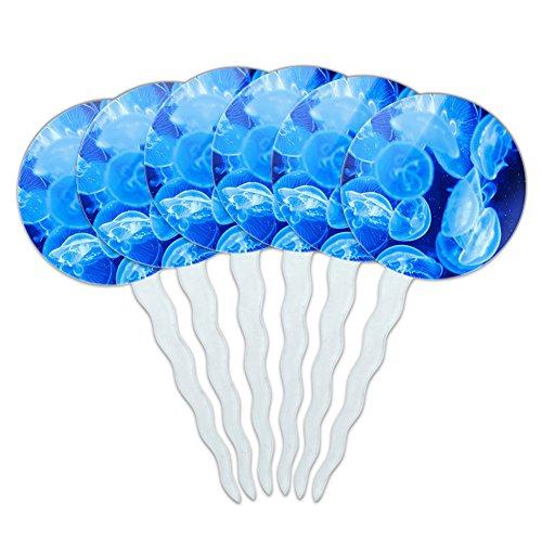 Set of 6 Cupcake Picks Toppers Decoration Sea Ocean Life - Jellyfish Blue Jelly Fish Ocean Underwater