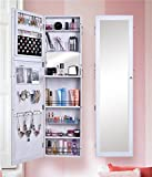 Shelving Solutions Jewelry Cabinet Armoire Mirrored Jewelry Armoire Wall Mounted Cabinet (White)