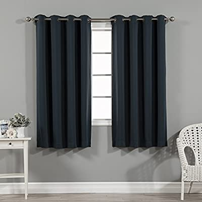 "Best Home Fashion Basic Thermal Insulated Blackout Curtains - Antique Bronze Grommet Top - Navy - 52""W x 63""L - (1 Panel) - Features an innovative triple weave fabric construction to block out sunlight and harmful UV rays. Insulates against the heat and cold, saving you money & energy. Laboratory-tested innovative fabric construction that insulates against the cold. Energy efficient, insulation, noise reduction, improve sleep, high quality. Header Size: 0.5 inches / Hem Size: 2 inches - living-room-soft-furnishings, living-room, draperies-curtains-shades - 51IZMfC%2BqQL. SS400  -"