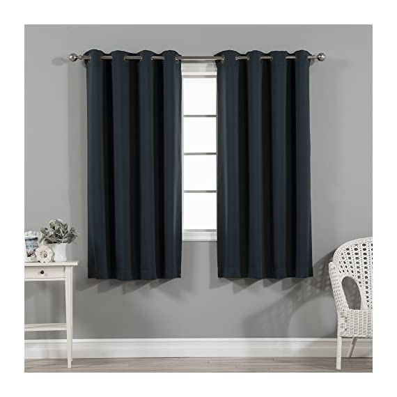 "Best Home Fashion Basic Thermal Insulated Blackout Curtains - Antique Bronze Grommet Top - Navy - 52""W x 63""L - (1 Panel) - Features an innovative triple weave fabric construction to block out sunlight and harmful UV rays. Insulates against the heat and cold, saving you money & energy. Laboratory-tested innovative fabric construction that insulates against the cold. Energy efficient, insulation, noise reduction, improve sleep, high quality. Header Size: 0.5 inches / Hem Size: 2 inches - living-room-soft-furnishings, living-room, draperies-curtains-shades - 51IZMfC%2BqQL. SS570  -"