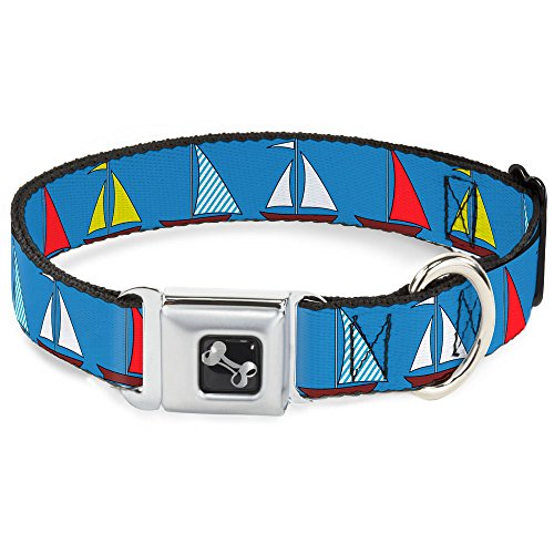 Dog Collar Seatbelt Buckle Sailboats Blue 15 to 26 Inches 1.0 Inch Wide
