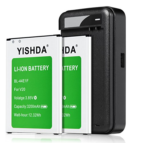 LG V20 Batteries | YISHDA 2 X 3200mAh Replacement LG BL-44E1F Battery with LG V20 Spare Battery Wall Charger for LG V20 H910 H918 LS997 US996 VS995 | LG V20 Battery and Charger Kit [18 Month Warranty] by YISHDA