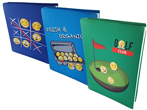 Jumbo Stretchable Fabric Emoji Book Cover x3 with Bookmark Ribbon and Name Tag for Size from Size from 8