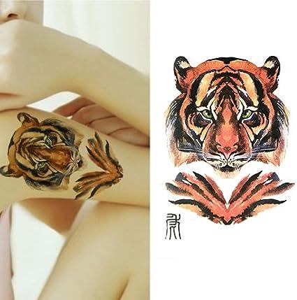 Oottati Tatuajes Temporales Muslo Brazo Tigre De Tinta (2 hojas ...