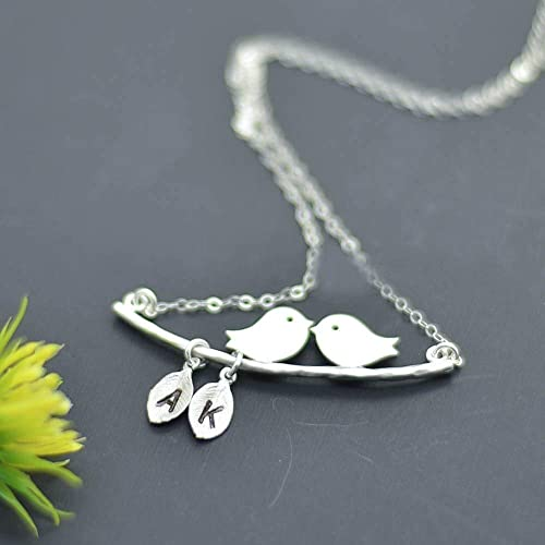 Monogram Baby Bird Necklace Wedding Gift for Mother or Grandmother Bird Charm Personalized Initial Necklace for Mother Family Tree