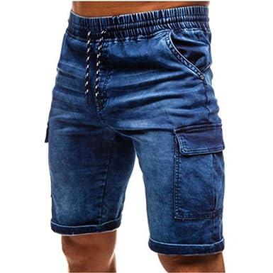 Streetwear para Hombres Pantalones Cortos de Mezclilla de ...