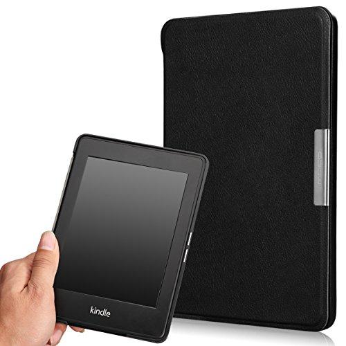 MoKo Kindle Paperwhite Hülle - Ultra Leightweight Slim Schutzhülle Tasche Schale Smart Case für Alle Kindle Paperwhite (2015/2014/2013/2012 Generation mit 6 Zoll Display und Einbauleuchte), Schwarz