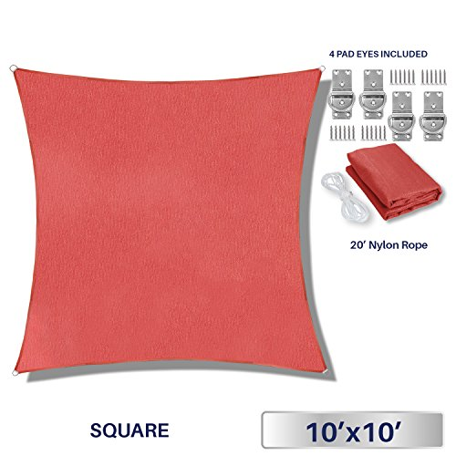 Windscreen4less 10' x 10' Square Sun Shade Sail - Solid Red Durable UV Shelter Canopy Patio Outdoor Backyard - Custom by Windscreen4less