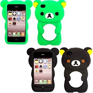 2 Pack Teddy Silicona Cubrir Caso Piel Para Apple iPhone 4 4S / Green And Black