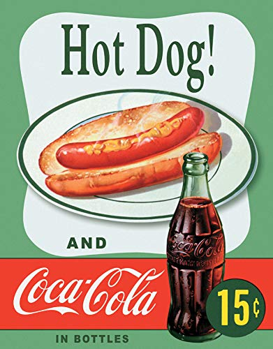 Desperate Enterprises Vintage Hot Dog and Coca-Cola Bottles Tin Sign, 12.5