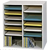 SAF9422GR - Safco 16 Compartments Adjustable Shelves Literature Organizer