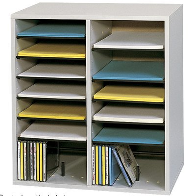 SAF9422GR - Safco 16 Compartments Adjustable Shelves Literature Organizer by Safco
