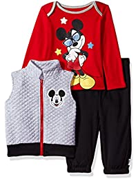 Baby Boys' Mickey Mouse 3 Piece Vest, Bodysuit OR T-Shirt, and Pant Set