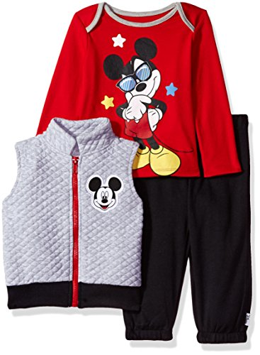Disney Baby Boys' Mickey Mouse 3 Piece Vest, Bodysuit OR T-Shirt, and Pant Set, Lightheather Grey, 6-9 Months (Disney Clothes Baby)