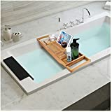 Natural Bamboo Bathtub Caddy with Extendable Sides,Book,Tablet,Phone,Wine Holder