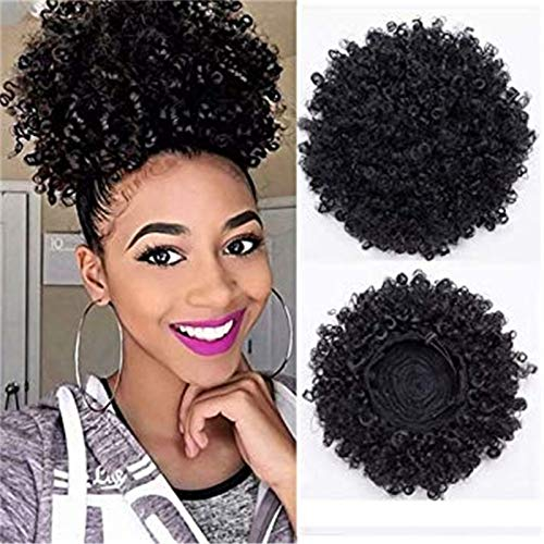 (Difunee Afro Puff Drawstring Ponytails For Black Women African American Short Afro Kinky Curly Wrap Synthetic Hair Extensions With Clips(#1B))