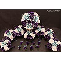 Purple and Teal Turquoise BEADED Flower Lily Wedding or Quincenarea Bouquet 16 PC Package with FREE Boutonnieres