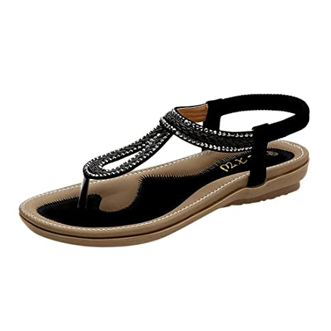 1425647c1ad Amazon.com  Copercn Women s Ladies Woven Design Rhinestone Ornament Open  Toe Soft Insole Thong Toe Post Flat Sandals Flip-Flops Summer Beach Casual  Shoes  ...