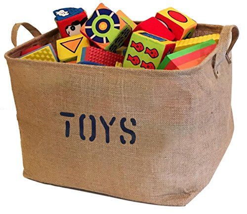 ge Bin - 17 x 13 x 10 - Large Basket - Jute Baskets for Organizing Toys, Laundry Bins for Clothes, Baby Nursery, Kids Rooms, Toy Box (Toy Basket Liner)