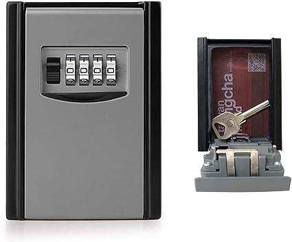Cassetta di Sicurezza a Chiave Chiave a 4 cifre Cassetta di Sicurezza di Sicurezza Scatola di Sicurezza Cassetta di Sicurezza Combinazione di Montaggio a Parete Organizzatore per Chiavi di riserva
