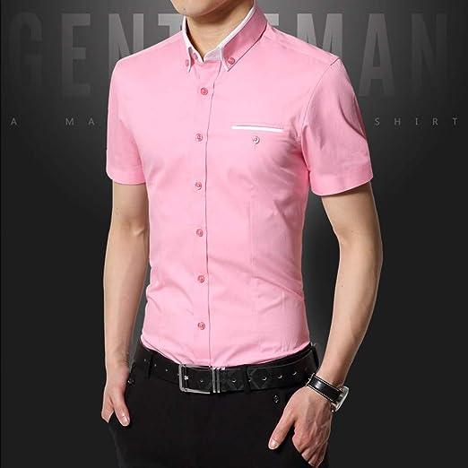 NSSY Camisa de Hombre Camisa de Verano para Hombres Ropa de Vestir para Hombre Sólido Slim Fit Manga Corta para Hombres Ropa Asiática, XXL: Amazon.es: Hogar