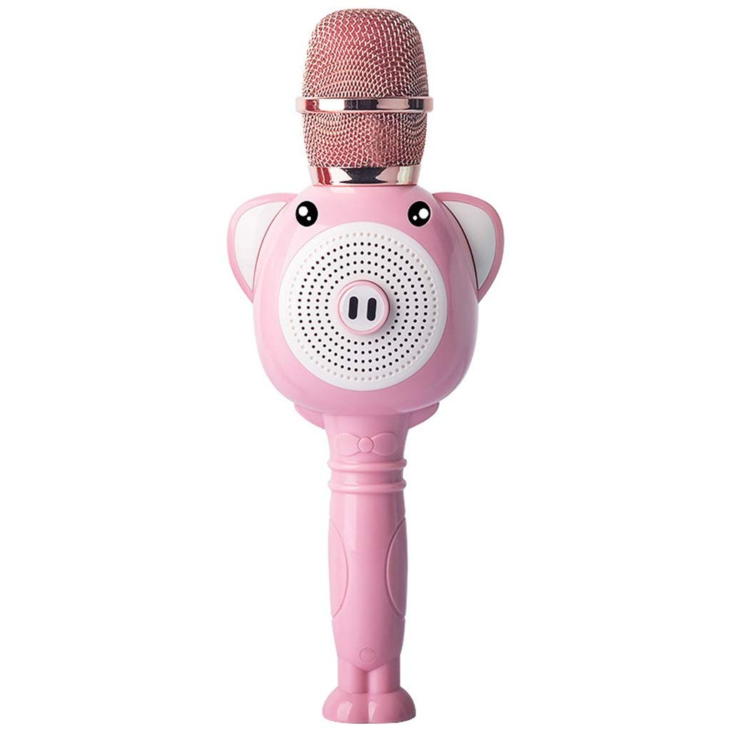 Rsiosle Kids Karaoke Wireless Bluetooth Microphone, Portable Mic for Child with Speaker for Home Party KTV Birthday Gift Compatible with Android iOS PC ( Color : Pink )