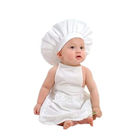Ben-gi Delantal Blanco Sombrero Traje del Cocinero Ropa de bebé fotografía apoya los bebés y niños pequeños de Disparo Traje de los apoyos