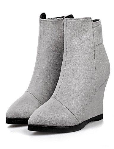 Tacón Black Gray Gris Uk6 Puntiagudos Vellón Cuña De Zapatos Mujer Cn39 Botas Negro Eu39 us8 Casual us8 Xzz qwxtaPx