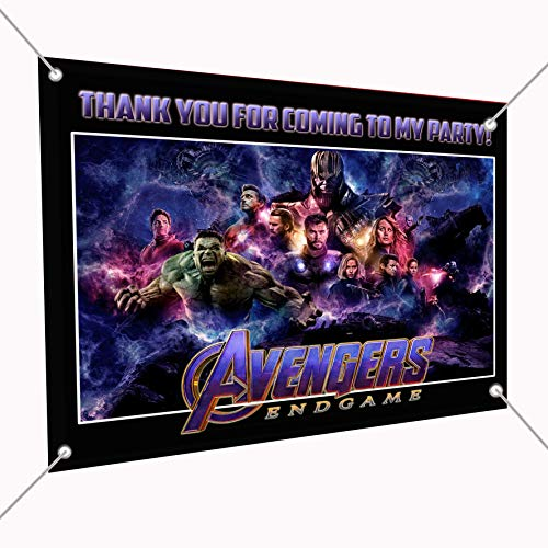 (Avengers Endgame Movie Banner Large Vinyl Indoor or Outdoor Banner Sign Poster Backdrop, Party Favor Decoration, 30