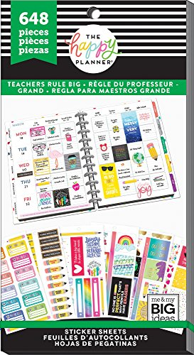 Me & My Big Ideas PPSV-71-3048 Teachers Rule Big Happy Planner Sticker Value (648 per Pack), Multicolor by Me & My Big Ideas