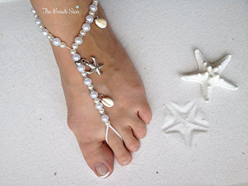 Beach Sandal Charm - White Barefoot Sandals Beach Wedding Themed Beaded White Pearl Anklet with Starfish Charms and Real Seashells