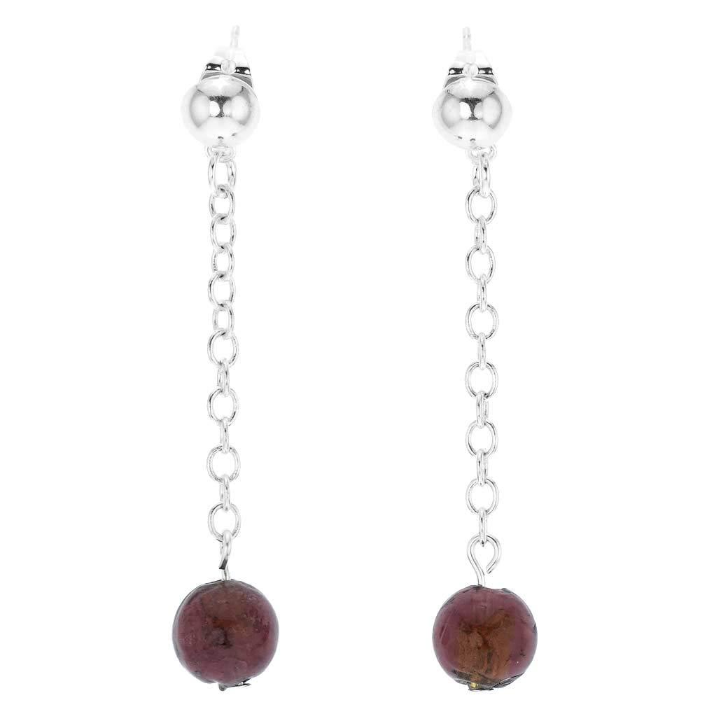 GlassOfVenice Murano Glass Silver Drops Dangle Earrings - Purple