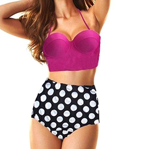 (Retro Vintage High Waisted Push Up Bikini Set Two Pieces Swimsuit | High Waisted Bikini Summer Bathing Suits (Purple, Small) )