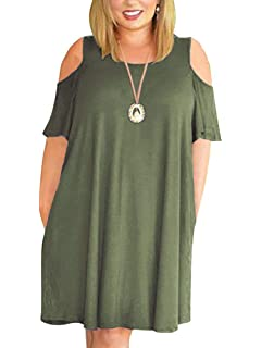 687e458acc22 Kancystore Women Plus Size Dresses Short Sleeve Cold Shoulder Casual  T-Shirt Swing Dress with